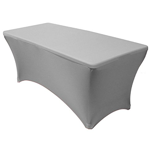 Your Chair Covers - Rectangular Fitted Stretch Spandex Table Cover, Silver, 8' L