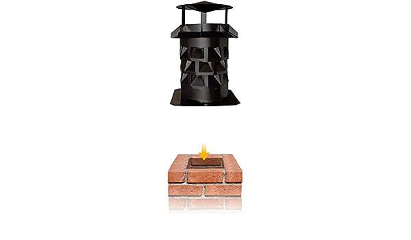 Accesorio de chimenea Windkat campana extractora de - colour negro - con placa de base, metal, 180 mm: Amazon.es: Hogar