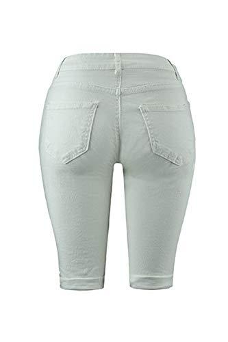 Femmes Lav Les Dchir Pleine Jean Froc Sexy Trou Pantalon Whitehalf Stretchy Longueur Zilcremo YA5Tqq