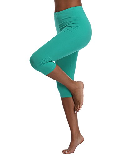 Kotii Women's Lightweight Soft Capri Leggings Crop Leggings 3/4 Stretch Yoga Pants ()