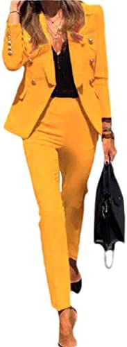 yibiyuan Women's Business Double-Breasted Blazer and Long Pants 2-Piece Suits