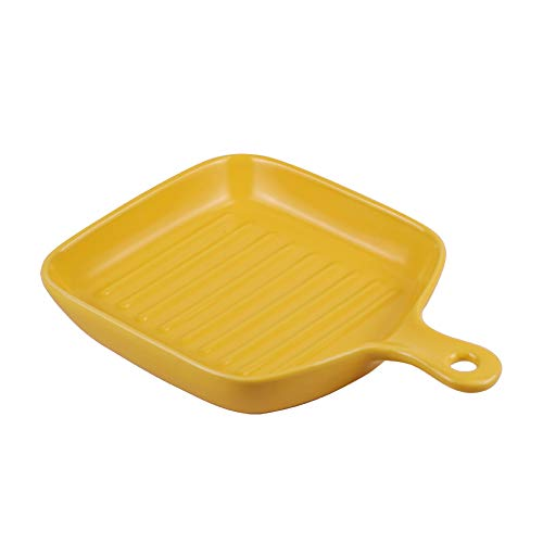 Yellow Small Ceramic Platter Baking Dishes with Handle for Oven Dinner Dish Individual Bakeware Serving Tray