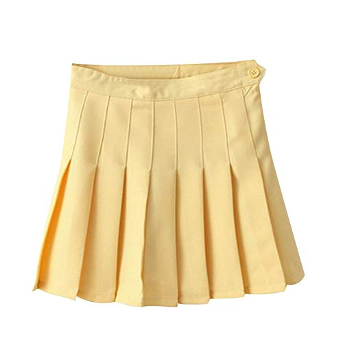 Aro Lora Women's Stylish Slim High Waist Pleated Tennis Mini Skirts US 6 Yellow