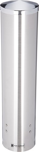 (San Jamar C3250 Stainless Steel Large Pull Type Water Cup Dispenser, Fits 4-1/2oz to 7oz Cone and 6oz to 12oz Flat Cup Size, 2-3/4