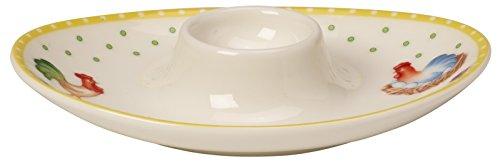 Villeroy & Boch Spring Awakening Egg Cup Rooster & Hen, Premium Porcelain, Yellow/Green/Red