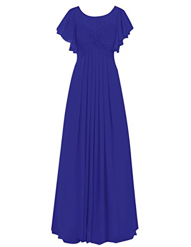 Dresstells®Vestido De Madrina Elegante Largo Con Mangas De Chiffon Azul Real