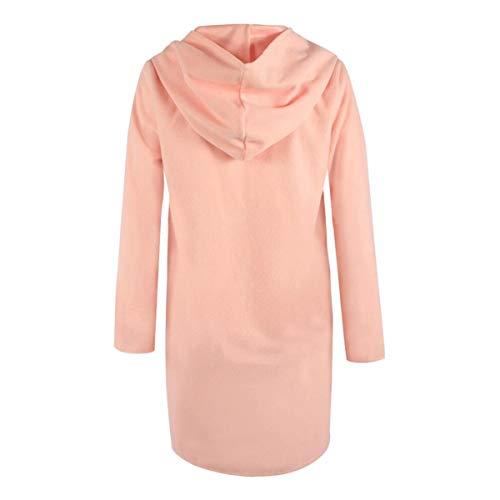 largas color capa de sombrero mangas Invierno Color con mujeres lana Rebeca caramelo tamaño de de XL Pink ZFFde xP8wIHqpw