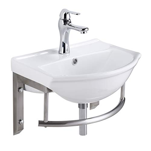 Small Wall Mount Bathroom Sink Combo Faucet And Drain With Stainless Steel Towel Bar Renovators Supply - Combo Towel Bar