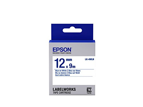 "Epson LabelWorks Standard LK (Replaces LC) Tape Cartridge ~1/2"" Blue on White (LK-4WLN) - For use with LabelWorks LW-300, LW-400, LW-600P and LW-700 label printers"