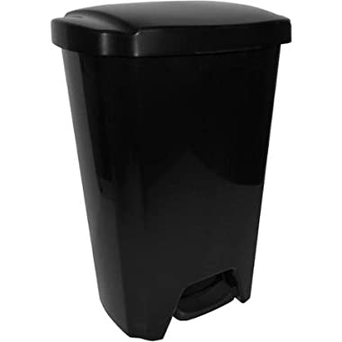 Black 13-Gallon Step-On Kitchen Trash Can