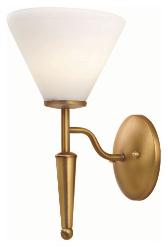 Lite Source LS-11325BRZ/WHT Martini Wall Lamp, Bronze with White (Martini Wall Fixture)