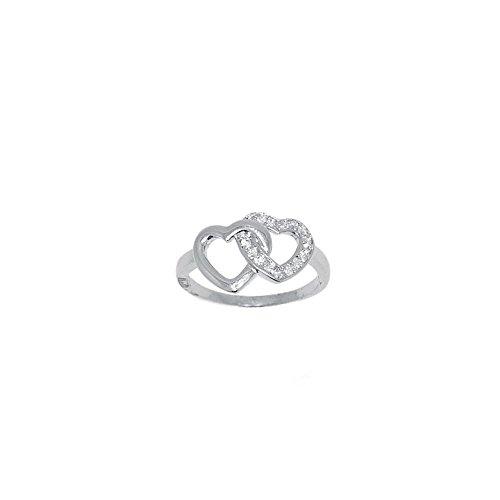 MARY JANE - Bague Argent Femme - Larg:15mm / Haut:10mm - 0 - Argent 925/000 rhodié-Zirconium (Coeur)