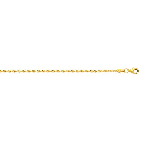 10k Yellow Gold 10 Inch 2mm Diamond Cut Finish Solid Rope Anklet Bracelet by Diamond Sphere