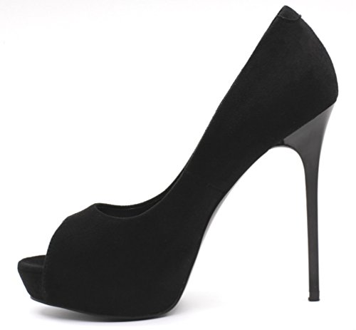 Jaro Vega Dames Open Teen Platform Stiletto Pumps Zwart-zwart
