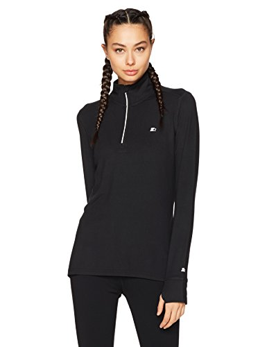 Starter Women's Long Sleeve Half-Zip Top, Prime Exclusive, Black, Medium (Long Sleeve Half Zip Top)