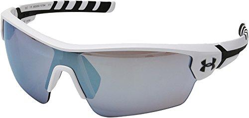 Under Armour Wrap Sunglasses, UA Rival Satin White/Black Frame/Baseball Tuned Lens, L/XL