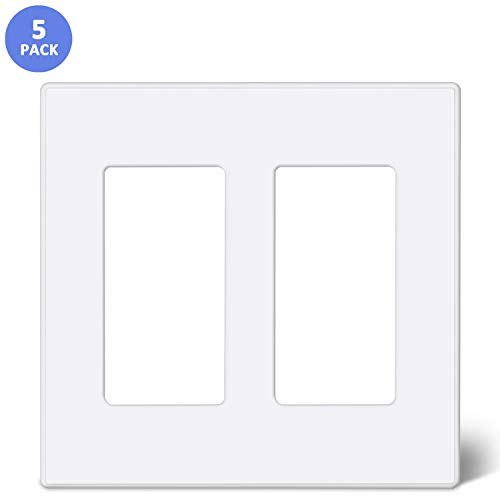 [5 Pack] BESTTEN 2-Gang Screwless Wall Plate, USWP2S Elegance Snow White Series, Standard Outlet Cover for Light Switch, Dimmer, Sensor, Timer, and Receptacle, Residential and Commercial, UL Listed