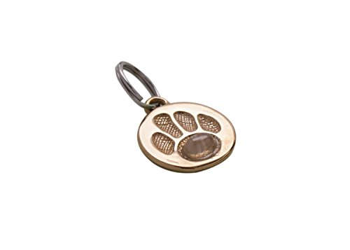 Handcrafted Bronze Pet Charm | Id Tag with Moonstone Gemstone (Agility Jewelry)