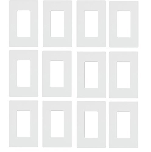 Lutron CW-1-WH 1-Gang Claro Wall Plate, White (12 Pack) by Lutron (Image #2)