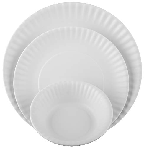 Melange 18-Piece Melamine Dinnerware Set (Paper Plate Collection) | Shatter-Proof and Chip-Resistant Melamine Plates and Bowls | Color: White | Dinner Plate, Salad Plate & Soup Bowl (6 Each) (White Dinnerware Melamine)