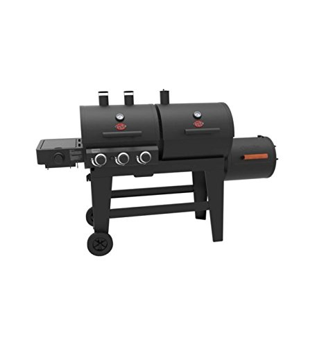 CHAR-GRILLER Gas Charcoal Grill Combo 3 Burner Outdoor Ba...