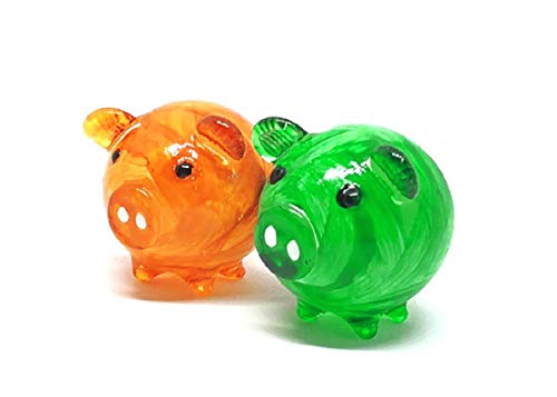 Blown Glass Pig (Hand Blown Art Glass,Pig Mummy Miniature Animals Collection, Dollhouse Miniatures,by Audomna Shop.(e001))