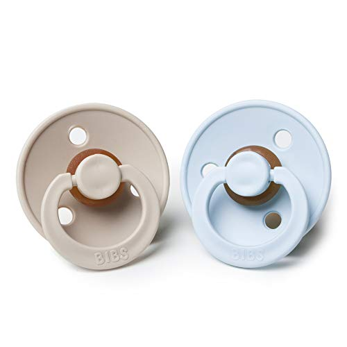 BIBS BPA-Free Natural Rubber Baby Pacifier | Made in Denmark (Baby Blue/Beige, 0-6 Months) 2-Pack