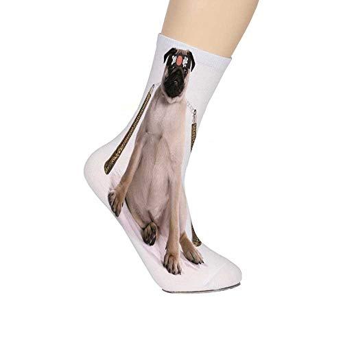- Pug Soft Mid Calf Length Socks,Ninja Puppy with Nunchuk Karate Dog Eastern Warrior Inspired Costume Pug Decorative Socks for Men Women