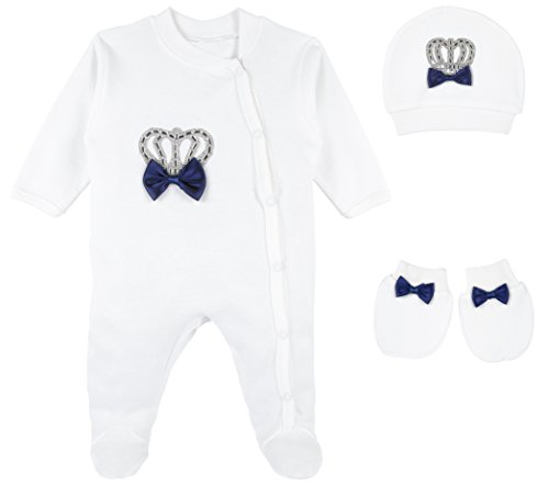 Lilax Baby Boy Crown Jewels Layette 3 Piece Gift Set 3-6 Months Navy