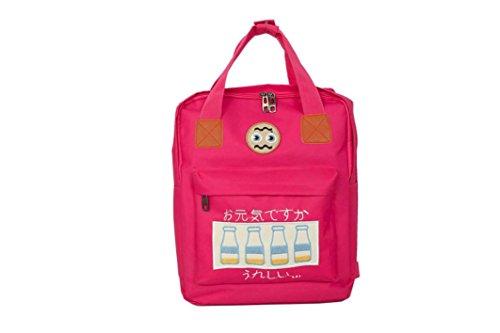 Aitena Fashion Cartoon Shoulder Backpack Zipper Versatile Satchels for Teenage (Hot Pink)