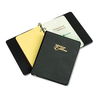 Looseleaf Phone/Address Book, 1'' Capacity, 5-1/2 x 8-1/2, Black Vinyl, Total 6 EA