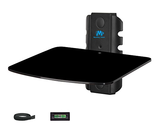 Mounting Dream MD5200-1 Single shelf DVD DVR VCR Wall Mount Bracket Floating Component Shelf with Strengthened Tempered Glass, 22 lbs Holding Capacity, Including Bubble Level and Cable (Single Shelf Support Kit)