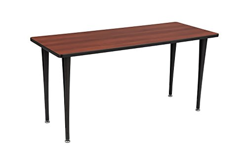Rumba Tables, Fixed Post Leg Table with Glides, 60 x 24'' Cherry Tabletop & Black Base by Safco