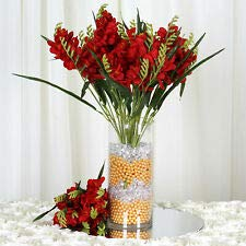 craftsnfavors 4 Red Bushes Silk Freesia Wedding Flowers Bouquets Reception Party Decorations ()