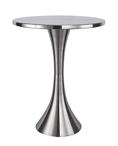Grandview Gallery Round Metal Brushed Nickel Side Accent Table 24