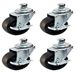 """Pack of Four - 2.5"""" STEEL SWIVEL CASTER WITH SOLID PP WHEEL,FINE BEARINGS, AND BRAKE SHORT THREADED STUD , NUT AND LOCKWASHER"""