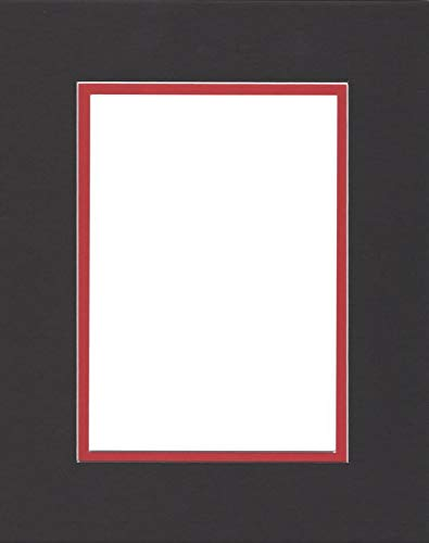 Pack of (2) 22x28 Double Acid Free White Core Picture Mats Cut for 18x24 Pictures in Black and Real Red