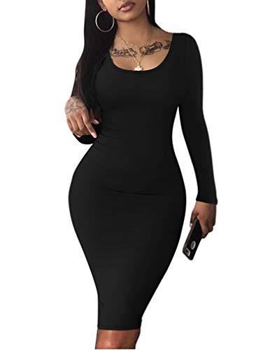 LAGSHIAN Women's Sexy Casual Long Sleeve Scoop Neck Bodycon Midi Club Dress