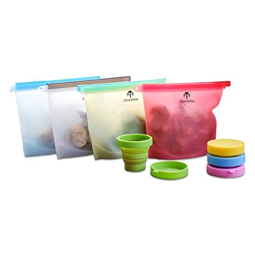 Reusable Silicone Food Storage Bag 4 Pack -Airtight Zip Seal Bags, Steam/Freezer Bags, Eco Friendly Sandwich Baggies for Kids, Thanksgiving, Xmas Gifts for Mom, Dad, Nana, Papa - Bonus Collapsible Cup