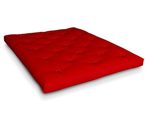 Futon Shiatsu Baumwollfuton Futonmatratze mit 4x Baumwolle von Futononline, Größe:140 x 200 cm;Color Futon SE Amazon:Rot/Filz schwarz
