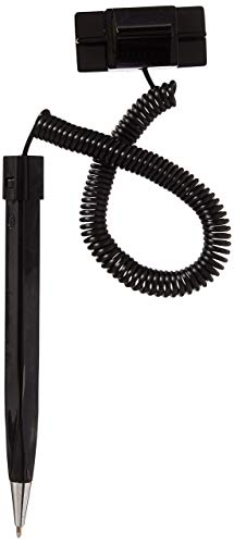 Set of 50, Counter Security Pens with Mounting Base and Telephone-Style Plastic Coil, Wedge-Shaped - Black (Renewed) by Displays2go (Image #1)