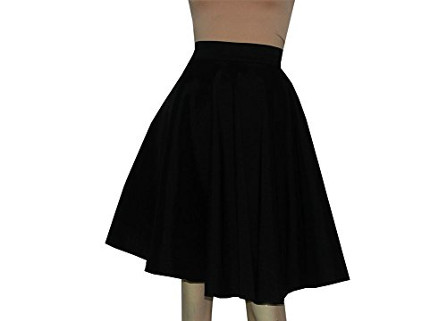 E K Women's full circle plus size taffeta skirt Evening formal party skirt-black-4x