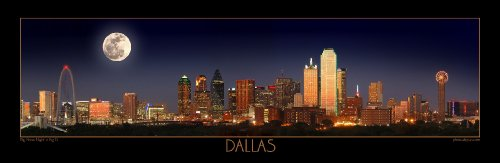 Dallas Skyline PHOTO PRINT UNFRAMED NIGHT Color FOUR STYLES 11.75 inches x 36 inches Photographic Panorama Poster Picture Standard Size