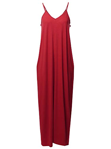 Casual Premium Adjustable Strap Side Pockets Loose Long Maxi Dress Dark Red S ()