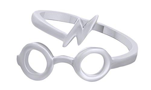 Harry Potter Glasses Lightning Bolt Open Ring In 14K White Gold Over Sterling - In Harry Styles Glasses