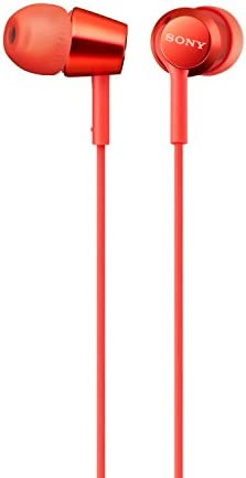 Sony Earbuds with Microphone, in-Ear Headphones and Volume Control, Built-in Mic Earphones for Smartphone Tablet Laptop 3.5mm Audio Plug Devices, Red MDREX155AP R