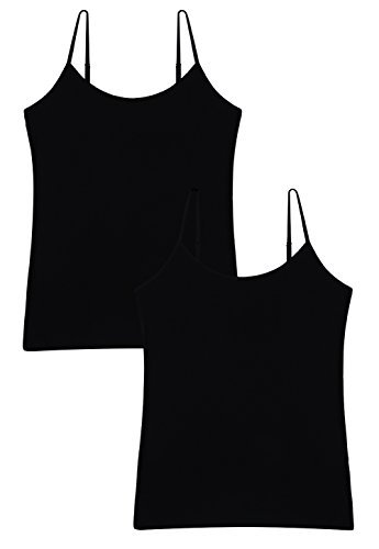 Vislivin Women's Basic Solid Camisole Adjustable Spaghetti Strap Tank Top Black/Black M