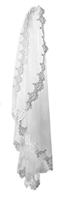 "Pampred Bride Ivory Lace Mantilla Bridal Wedding Veil Headpiece 116x55"" Cathedral"