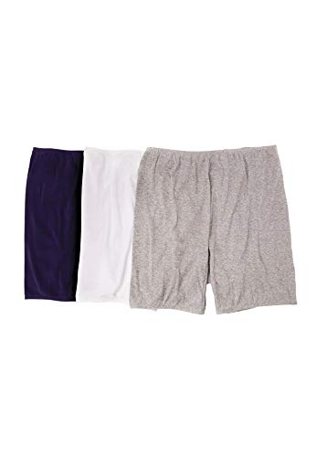 Comfort Choice Women's Plus Size 3-Pack Cotton Bloomer - Basic Pack, - Bloomers 3 Pack
