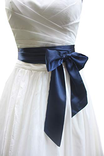 Wedding satin sash belt for special occasion dress bridal sash (Dark navy)